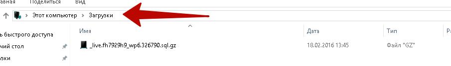 Скачанный файл в папку Загрузки