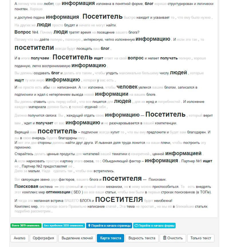 Карта текста