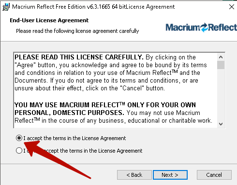 Соглашение с условиями загрузки Macrium Reflect